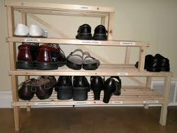 furniture: Simple Design Of Ike Shoes Rack In Ladder Shape Made Of Brown  Solid Wooden