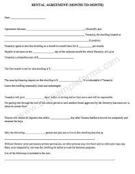 Month To Month Rental Agreement Template Simple Free Month To Month Rental Agreement In Word Format