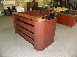 used reception desk right return double pedestal w paper sorting gany