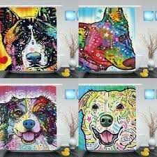 dog shower curtain cute pet dog printing shower curtain waterproof polyester fabric bathroom curtain with hooks dog shower curtain