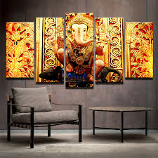 modern hd printed canvas painting home decor elephant head poster wall art india tibetan ganesha pictures unframed in painting calligraphy from home