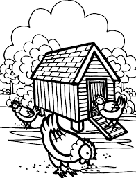 Small Picture Three Hen in Front of Chicken Coop Coloring Pages NetArt