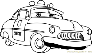 Small Picture Sheriff from Cars 3 Coloring Page Free Cars 3 Coloring Pages