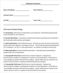 New Employee Evaluation Template Employee Evaluation Template 9 Free Word Pdf Documents Download