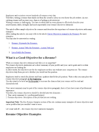 64 Resume Introduction Examples Sample Resume Objectives