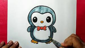cute penguin drawing. Delighful Cute How To Draw A Cute Baby Penguin Easy Line Drawing Of  YZArts For