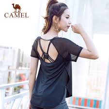 camels women s round neck yoga pilates t shirt short sleeved blouse breathable tee soft fitness
