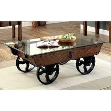 oak glass coffee table wheelbarrow farmhouse industrial urban loft large rustic