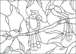 Mooie Kleurplaat Vogels Op Tak Glas In Lood Met Voorbeeld