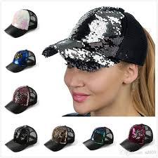 summer hats men and women mermaid sequins hat diy baseball cap net yarn ventilation peaked caps casquette 12lza gg ball caps fitted caps from sd005