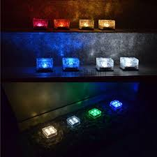 set of 4 pieces waterproof crystal glass brick led night lamp sensor solar ice rocks light for garden