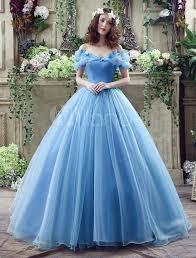 Aschenputtel Kleid Blue Organza Tüll aus der Schulter Ballkleid ...