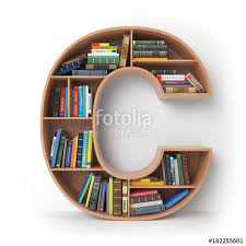 letter c alphabet in the form of shelves with books isolated on white