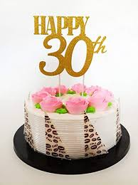 Gold Glitter Happy 30th Birthday Cake Topper Forever 30 Party