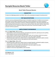 Banking Resume Examples Resume Examples For Teller Position Resume