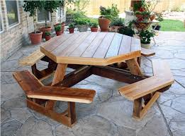 image of round picnic table with attached benches