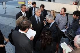 the disturbing decline of cbs and viacom s sumner redstone manuela herzer and pierce o donnell arrive at the stanley mosk courthouse downtown