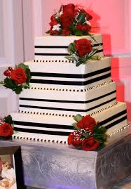 Red Black White Wedding Cake Corcoran Caterers