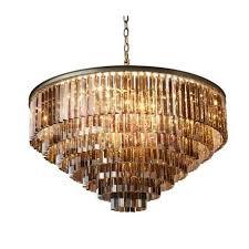 rh 1920s odeon clear glass fringe round 5 tier chandelier