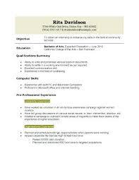 Sample High School Student Resume For College Application Sample