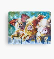 wee 3 pigs canvas print on pig canvas wall art with pig painting mixed media canvas prints redbubble