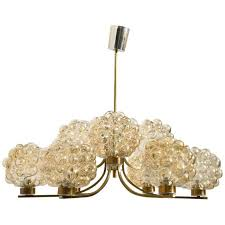 large amber bubble glass chandelier by helena tynell by limburg glashütte for