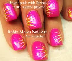 Easy Nail Art For Beginners!!! | DIY Neon Pink Stripes Design ...