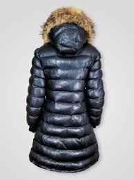 women s long puffy bubble black leather jacket with hood and genuine fur trim