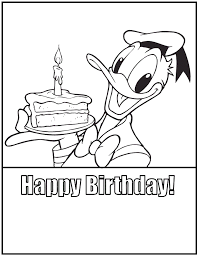 Happy Birthday Cake By Donald Duck Birthday Kleurplaten Donald