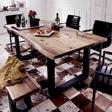 Esstisch Queens Esszimmer Tisch Akazie Massiv Natur Geölt Und Metall
