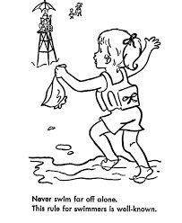 Small Picture Learning Years Child Safety Coloring Page Safe Swim