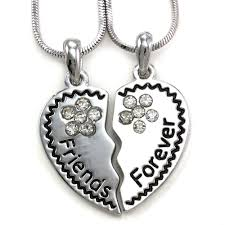 best friends forever f heart necklace