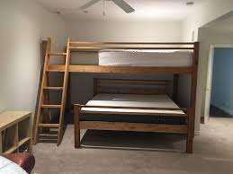 custom bunk beds extended loft over queen or king bunk bed