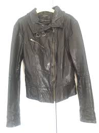 allsaints belvedere black leather jacket women s uk 12