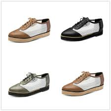 details about womens pointed toe hollow creeper flat heels leather lace up shoes multi colored