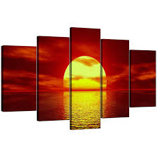 display gallery item 4 5 panel set of extra large red canvas picture display gallery item 5 on red canvas wall art uk with extra large sunset canvas prints uk set of 5 in red