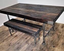 steam punk furniture. Rustic Wood Butcher Block Top Table, Dining Table With Steel Pipe Base, Industrial Steampunk Steam Punk Furniture