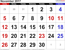 november 2017 calendar excel monthly calendar printable