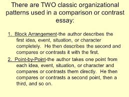the compare contrast essay ppt video online  there are two classic organizational patterns used in a comparison or contrast essay