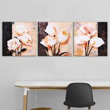 3 pcs unframed <b>canvas</b> print paintings <b>flower picture</b> home bedroom ...