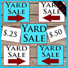 Printable Yard Sale Signs Digital Download Printable Yard Sale Price Tags