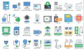 design elements ivr computer glyph icons vector stencils computer equipment icon set workstation desktop computer pc wifi mouse webcam