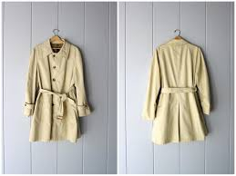 vintage 80s dior trench coat tan on up slouchy rain jacket vintage long belted wool lined trench jacket preppy mens 44 r