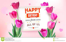 Birthday Flowers Background Design Happy Birthday Floral Poster With Lettering Design Birthday
