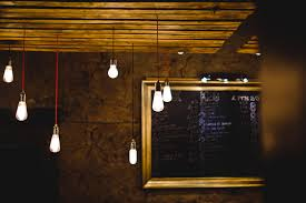 inside lighting. Table Light Glowing Board Wood Night Interior Restaurant Bar Decoration  Menu Darkness Lamp Lighting Modern Inside