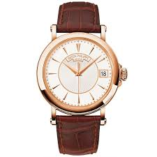 patek philippe patek philippe calatrava officer s case back 18ct rose gold white dial men s leather strap watch