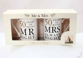 gift ideas for 50th wedding anniversary. 50th anniversary gift set of 2 china mugs \u0027mr right \u0026 mrs always right\u0027: amazon.co.uk: kitchen home ideas for wedding t