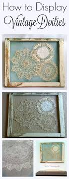 ... grandmother's vintage crocheted doilies- gorgeously shabby chic, they  are stitched to screen that has been attached to an antique salvaged window  frame.