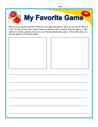 kindergarten writing prompt my favorite game writing prompt my favorite game