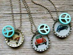 volkswagen thing type 181 color wiring diagram booklet 10 via set of 3 vw bottlecap peace neckaces fun and by artbyheather sorry i bought
